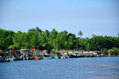 Rybak łodzi Merang Jetty Obrazy Royalty Free
