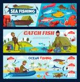 Rybak, połowu sprzęt, ryba i łódź, ilustracji