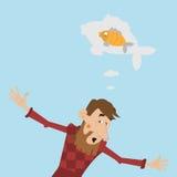Rybak pokazuje daleko złapanej ryba ilustracji
