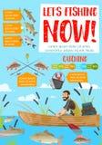 Rybak w łódkowatej łapanie ryba Prącia i sprzęty ilustracji