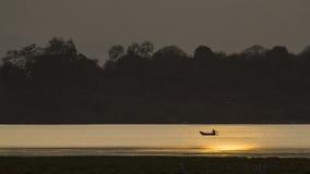Rybak w Arugam zatoki lagunie, zmierzch na lagunie, Sri Lanka Zdjęcie Royalty Free