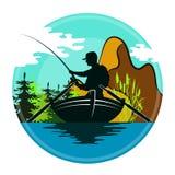 Rybak w łodzi i górach ilustracja wektor