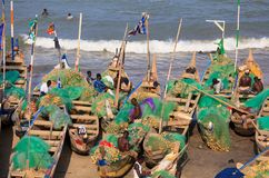 Rybak w przylądka kosztu plaży, Ghana Obrazy Royalty Free