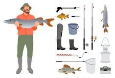 Rybak z rybą w rękach i sprzęt kreślimy royalty ilustracja