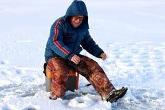 Rybak zima na jeziorze Obrazy Royalty Free