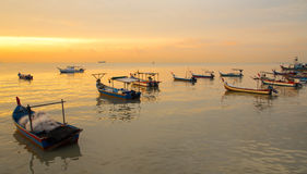 rybaka łódkowaty zmierzch Obrazy Stock