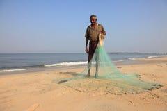Rybaka chwyt jego sieć rybacka Obraz Royalty Free