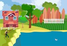 Rybaka chwyt ryba przy rzeką, wieś, royalty ilustracja