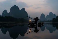Rybaka kormoranu Li rzeka, Guilin Yangshuo Obraz Stock
