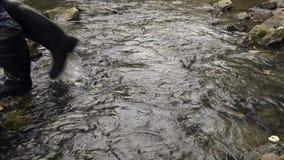 Rybaka odprowadzenie w rzece nad skałami zdjęcie wideo