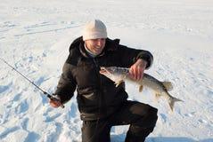rybaka połowu zima Zdjęcie Royalty Free