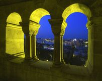 Rybaka ` s bastionu widok przy Budapest Zdjęcie Royalty Free
