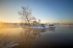 Rybaka ` s buda w zimie Zdjęcie Royalty Free
