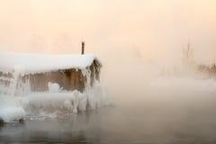 Rybaka ` s buda w zimie Zdjęcia Stock