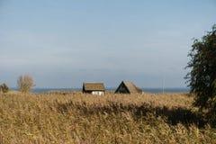 Rybaka ` s kabiny na zatoce blisko Ahrenshoop Obrazy Stock
