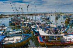Rybaka ` s łodzie przy portem Obrazy Royalty Free