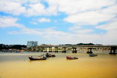 Rybi łódkowaty nabrzeże na Dongtou wyspy okręgu administracyjnym fotografia stock