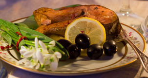 Rybi łosoś dla gościa restauracji Zdjęcie Stock