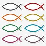Rybi Abstrakcjonistyczny majcheru set ilustracji