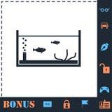 Rybi akwarium ikony mieszkanie ilustracja wektor