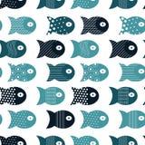 Rybi bezszwowy wzór dla tkanina tekstylnego projekta, poduszki, tapety, płótno, torby, scrapbook papier ilustracja wektor