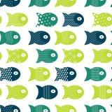 Rybi bezszwowy wzór dla tkanina tekstylnego projekta, poduszki, tapety, płótno, torby, scrapbook papier royalty ilustracja
