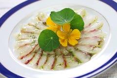 Rybi carpaccio, włoski naczynie Fotografia Stock