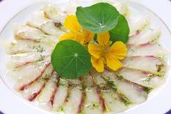 Rybi carpaccio, włoski naczynie Obraz Stock
