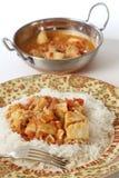 Rybi curry'ego posiłek, kadai i rzucamy kulą vertical Zdjęcie Stock