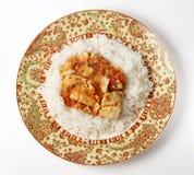 Rybi curry'ego posiłek od above Zdjęcie Royalty Free