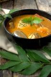 Rybi curry w czarnym pucharze Zdjęcie Stock