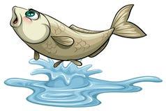 Rybi doskakiwanie out na wody powierzchni ilustracja wektor