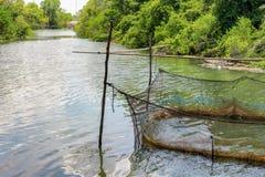 Rybi gospodarstwo rolne dla rosnąć w otwartej wodzie Fotografia Royalty Free