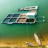 Rybi gospodarstwo rolne z wybrzeża chiny południowi morze w Wietnam widok z lotu ptaka fotografia royalty free