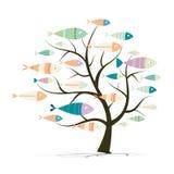 Rybi i drzewny tło ilustracja wektor