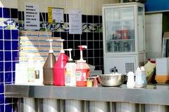 Rybi i układ scalony condiments Fotografia Royalty Free