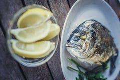 Rybi jedzenie na bielu talerzu z cytryną Zdjęcia Royalty Free