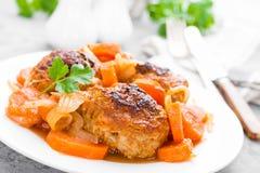 Rybi klopsiki lub noisettes piec z marchewką, cebulą i pomidorowym kumberlandem, Rybi klopsiki na talerzu Zdjęcie Royalty Free