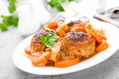 Rybi klopsiki lub noisettes piec z marchewką, cebulą i pomidorowym kumberlandem, Rybi klopsiki na talerzu Fotografia Royalty Free
