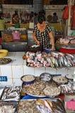 Rybi kram przy Ben Tanh rynkiem, Ho Chi Minh miasto. Zdjęcie Royalty Free