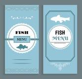 Rybi menu szablon, Wektorowa owocych morzy naczy? lista ilustracja wektor