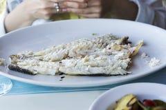 Rybi naczynie - smażący rybi polędwicowy Barracuda Obrazy Stock