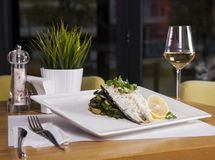 Rybi naczynie - smażący rybi polędwicowy i warzywa, Smakowity zdrowy piec Fotografia Royalty Free
