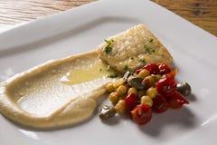 Rybi naczynie - smażący rybi polędwicowy z warzywami Obraz Royalty Free