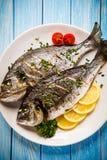 Rybi naczynie - smażący rybi polędwicowy z warzywami Obrazy Royalty Free