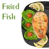 Rybi naczynie - smażący rybi polędwicowy z warzywami Zdjęcia Stock