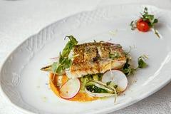 Rybi naczynie - smażący rybi polędwicowy zander Obrazy Royalty Free