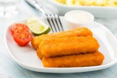 Rybi palce i kartoflana sałatka zdjęcie royalty free