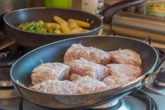 Rybi polędwicowy kucharstwo na dłoniak niecce, karmowy przygotowanie Obraz Royalty Free