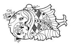 Rybi przedszkole, śmieszna kreskówki ryba, blacha i weit wersion kolorystyki strona, Fotografia Royalty Free